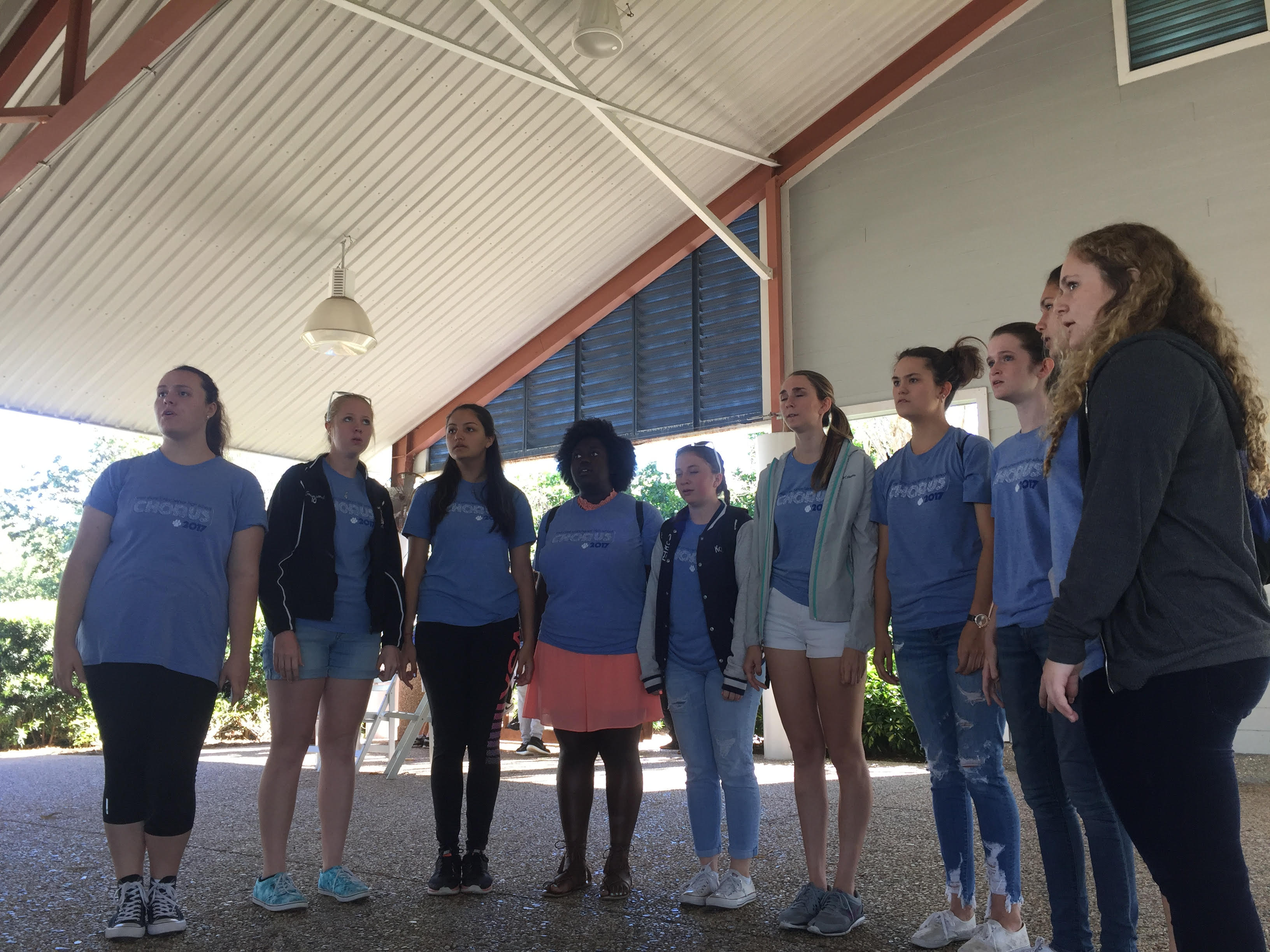 Women's chorus sings at Seaworld.