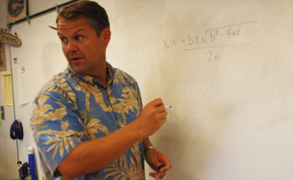Math teach Don Gornto teaches a lesson to his Analysis and Functions class Aug. 10