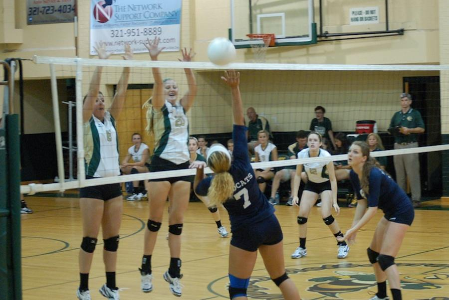 Junior Taylor Kelley goes in for a kill in a match against Central Catholic.