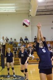 Junior Casey Schauman attempts to save a ball in a volleyball match.