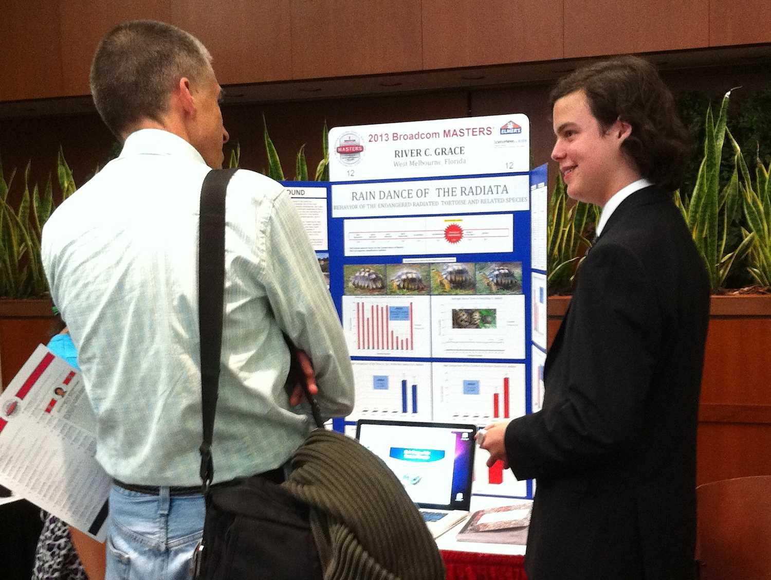 Freshman River Grace explains his research at Broadcom MASTERS competition in Washington D.C. on Tuesday.