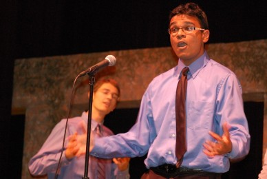 Senior Sujan Patel takes center stage during the Gentleman's Band first-place winning performance.