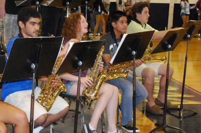 Junior Kevin Baylen (third from the left) plans to audition for All-County on the flute.