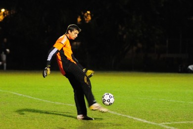 Sophomore Allan Joyner clears the ball in a 2012 game.