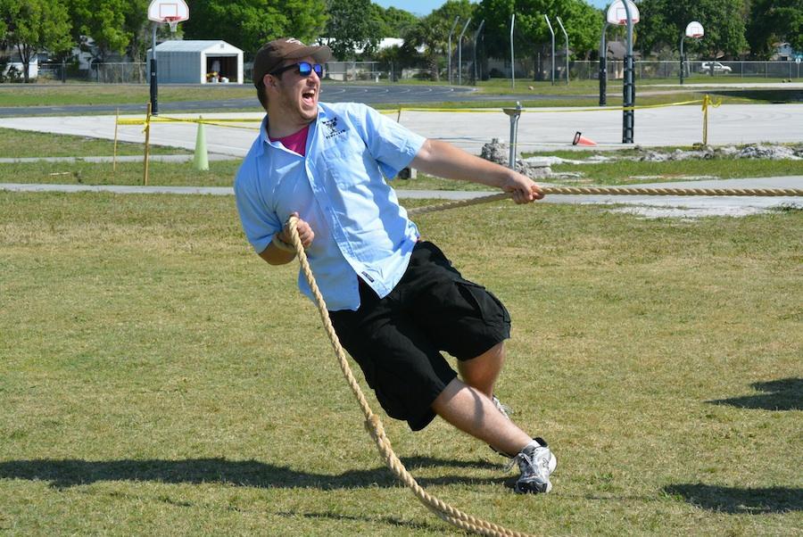 As an anchor in the tug-o-war, senior Adam Marzec strains to keep his team on their feet.