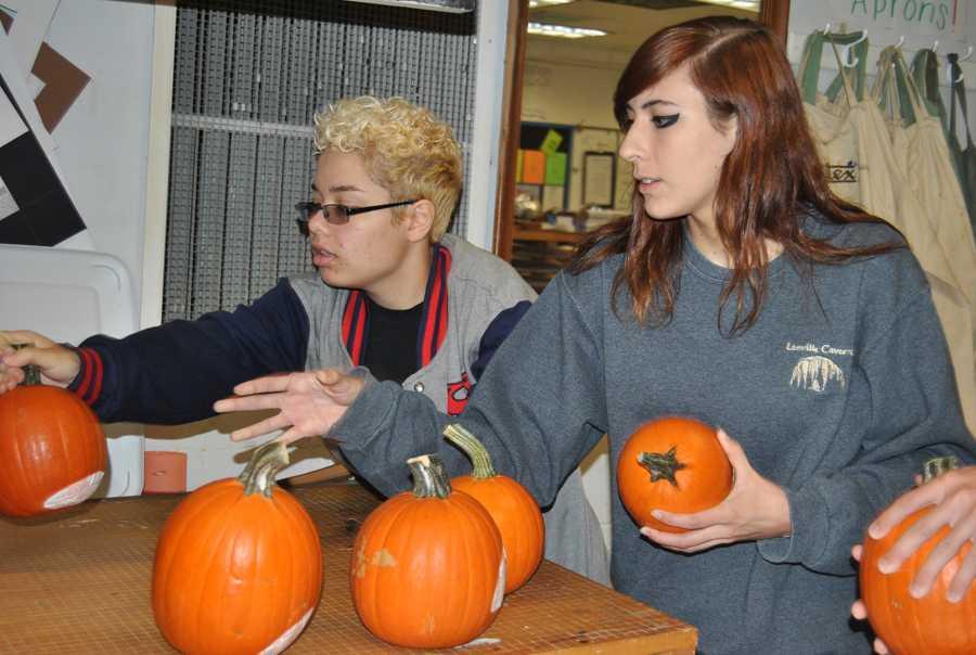 Preparing pumpkins
