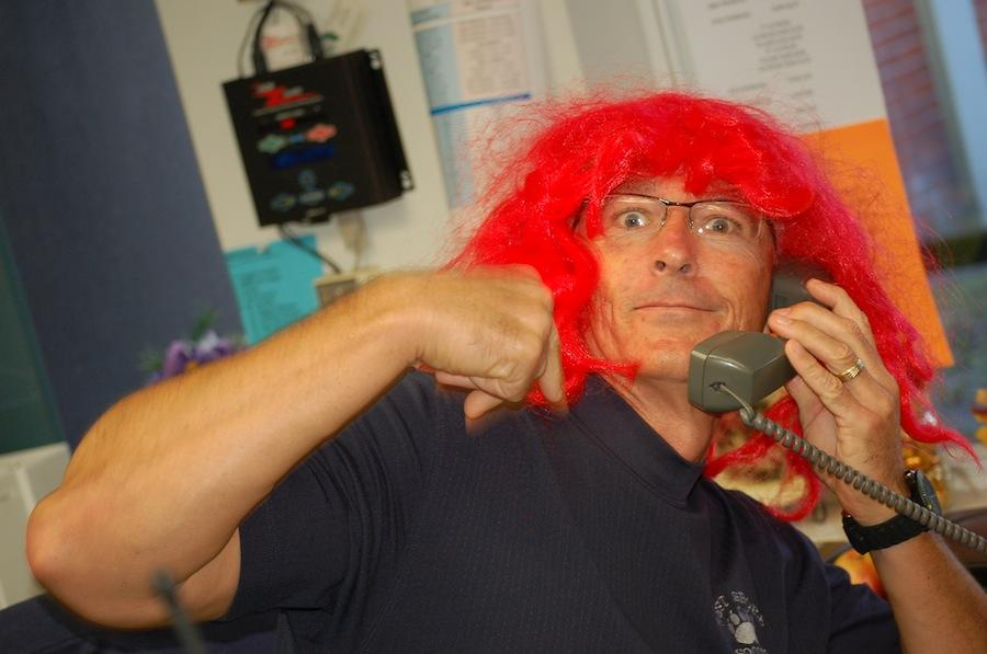 Students selected Assistant Principal Robert Farrell for the red-wig honor.