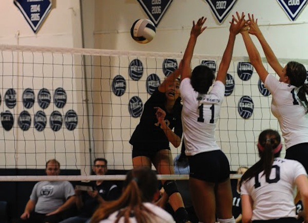 Freshman Giao Huynh spikes the ball during a match in the West Shore gym.