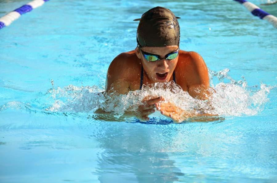 Kalya Stevens practices at Fee Avenue pool in Melbourne.