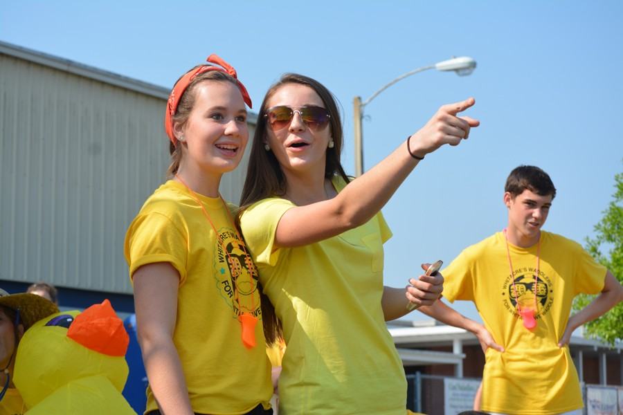 Juniors Hannah Montgomery, Ashley Norris and Ryan McCullough represent Whitacre's Waddlers at Friday's Wildcat Challenge.