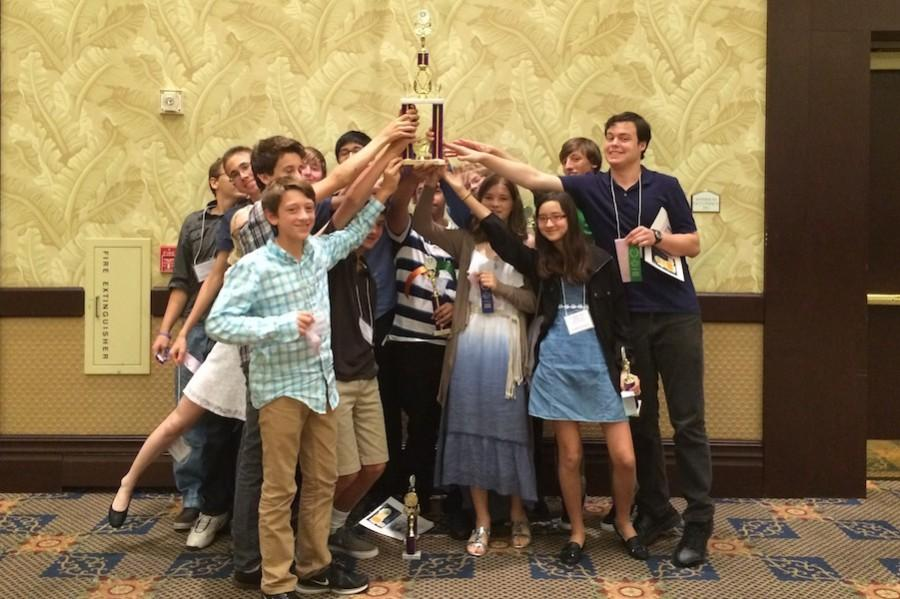 West Shore Latin students pose with their trophy Saturday.