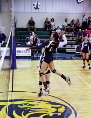Sophomore Giao Huynh sets up to spike the ball as junior Louisa Delahoz looks on.