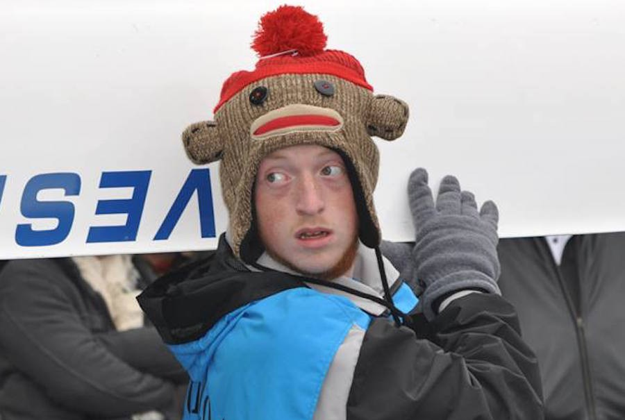 Junior Matt Moore sports winter attire for last year's race which was marred by extreme weather conditions.