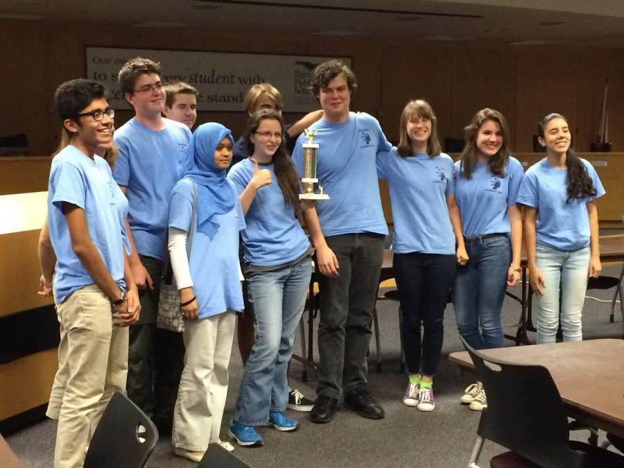 The academic team celebrates is second-place finish.