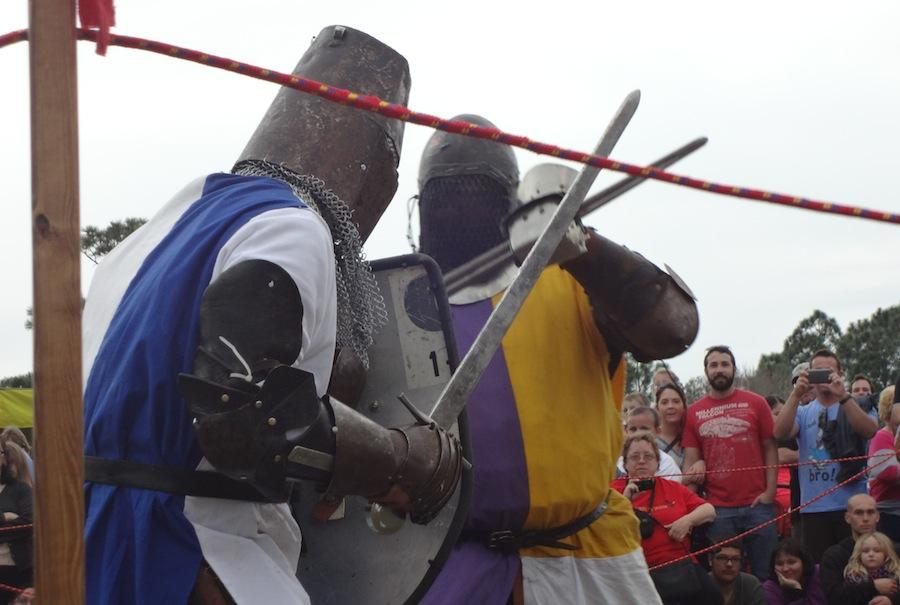 The crowd watch a sword-fighting demonstration in 2014.