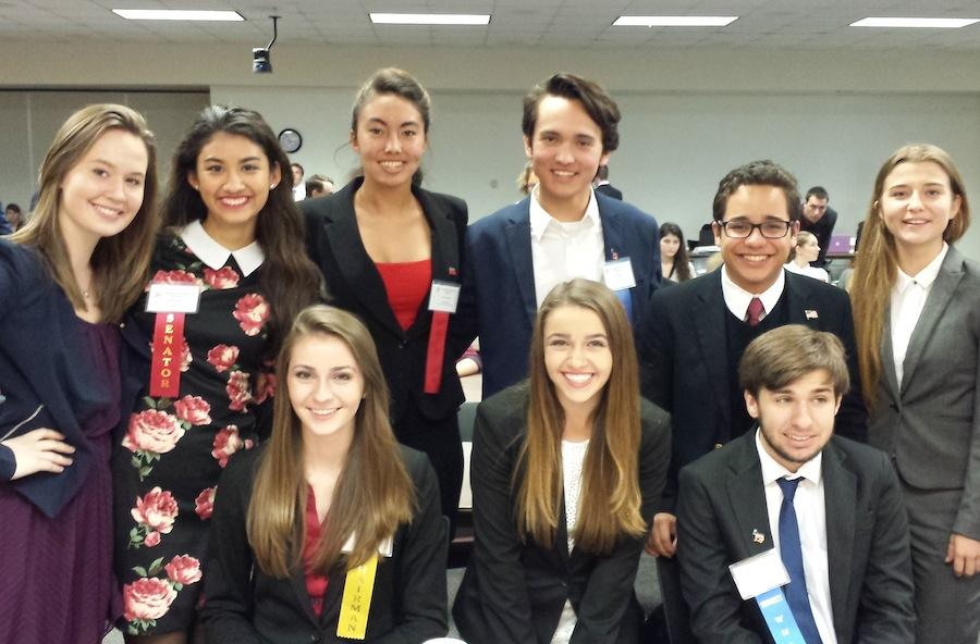 Members of the West Shore Model Student Senate team included Hannah Montgomery, Rachel Montgomery and Geoffrey Garrido. Back row: Ashley Norris, Ana Rosal, Molly Redito, Gianni Valenti,  Sergio Carlos and Nicole Conde.