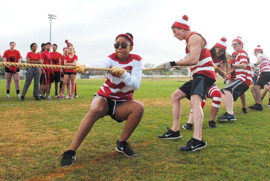 Members of Whitacre's Waldos participate in the tug of war contest during Wildcat Challenge.