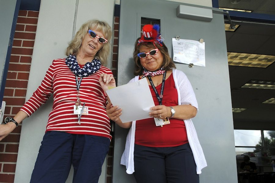 Math teachers Annamae Milligan and Annie Nery celebrate America Day during last year's Spirit Week.