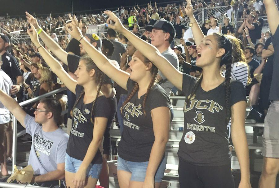 Seniors Nicole Conde, Madison Glatz and Brianna Sandoval cheer on the Golden Knights.