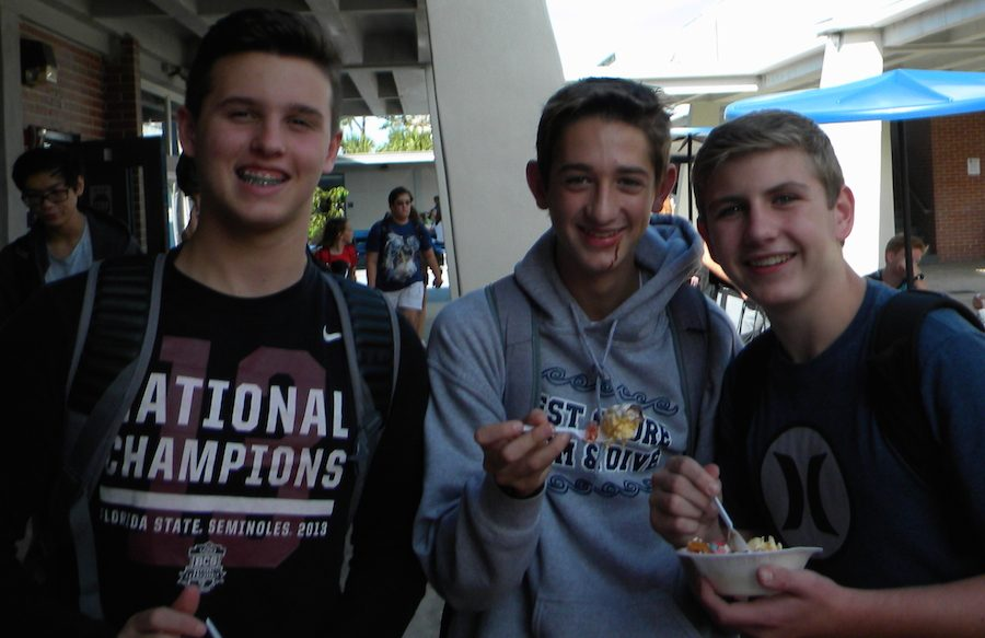 Colton Serven (left), Jake Repperger (middle), and Donnie Luchetti enjoy their sundae's