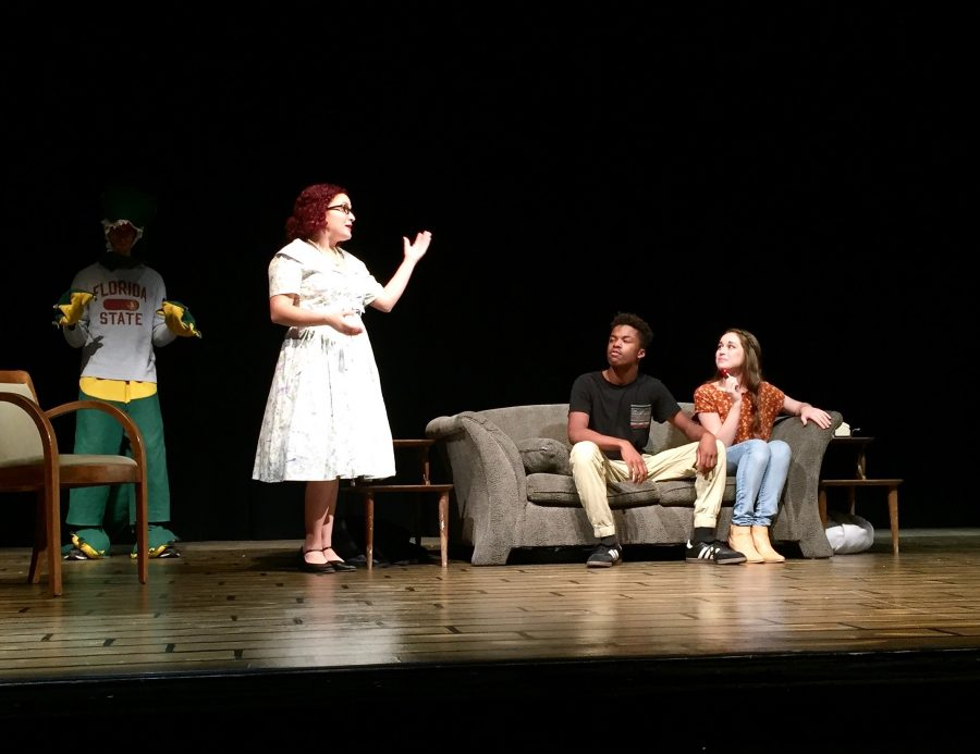 Students Lizzie Guerra, Moses Chavez-Gray and Lauren McMillan in Dinner With the Macguffins