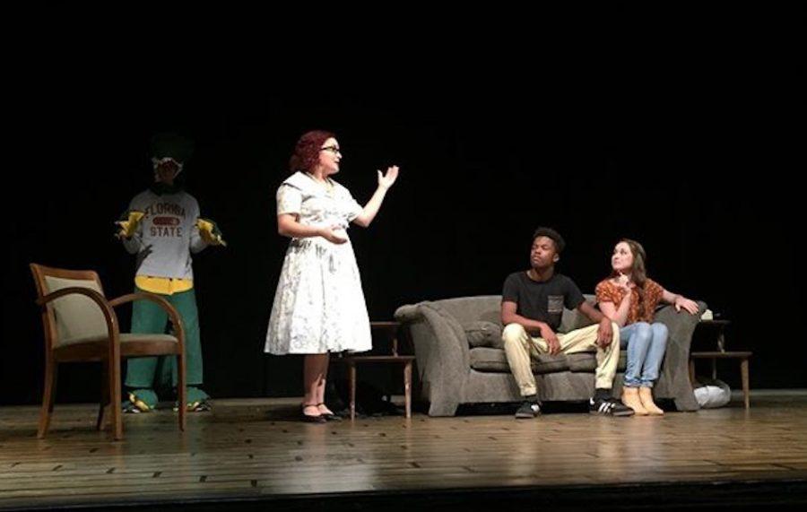 Junior+Gerald+Sola%2C+senior+Lizzie+Guerra%2C+senior+Moses+Chavez-Gray+and+junior+Daly+Mann+perform+Saturday.