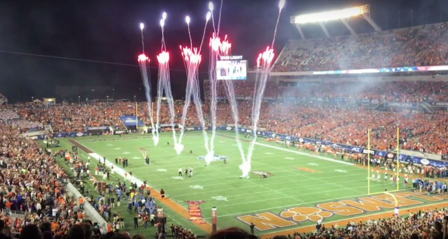 Fireworks adorn the sky before the Clemson ACC Championship game against Virginia Tech Dec 3rd.