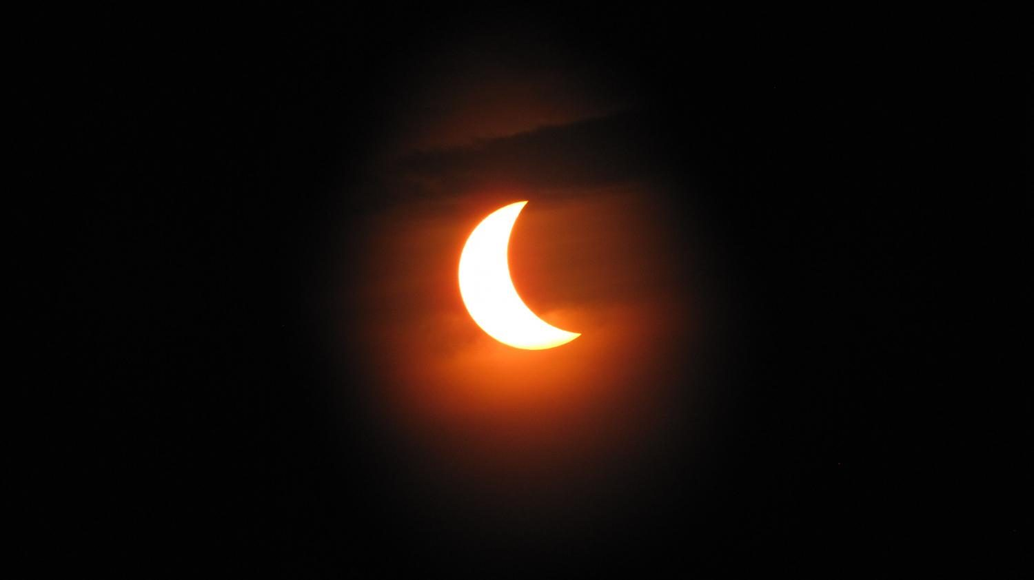 Partial solar eclipse, as viewed from India in July 2009.