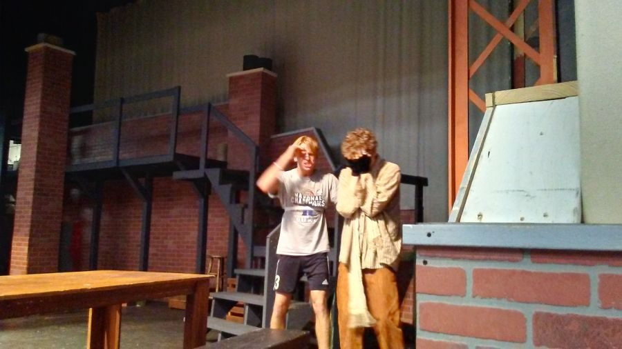 Juniors Kyle Caudill and Evan Courtney rehearse an intense scene the week before opening night.