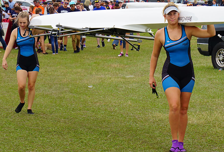 Satellite High's Trinity Purcell and senior Marissa Scalise prepare for a race.