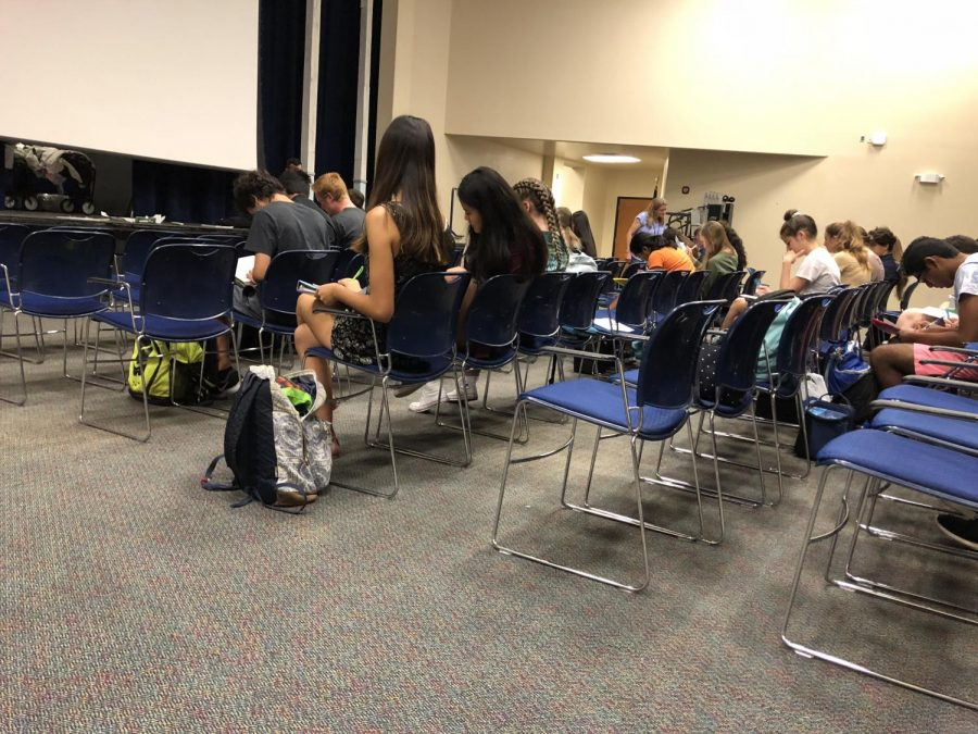 Orchestra students work on rhythm exercises after All-County