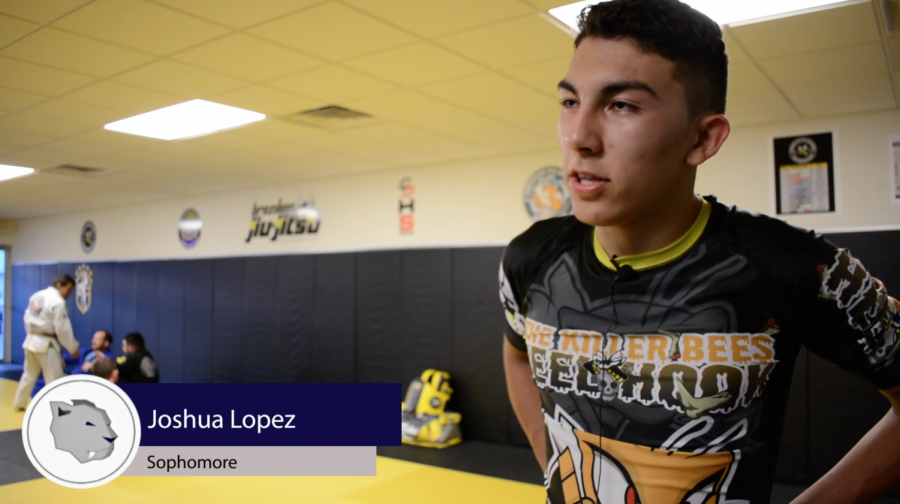 Sophomore Joshua Lopez takes a break from his workout at American Killer Bees Headquarters on Babcock Street.