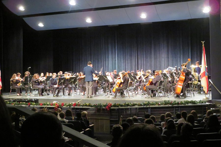 Symphony+orchestra+musicians+play+at+their+Winter+Concert.