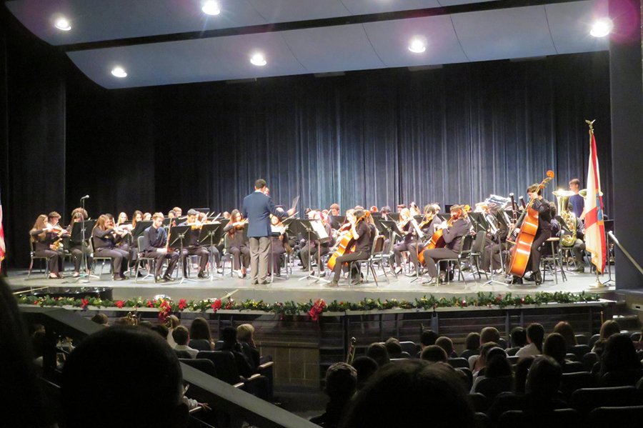 Symphony orchestra musicians play at their Winter Concert.