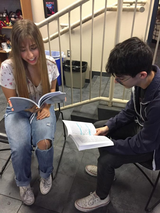 Juniors Natasha Mozden and Rudi Larkin rehearse lines for Anne Frank