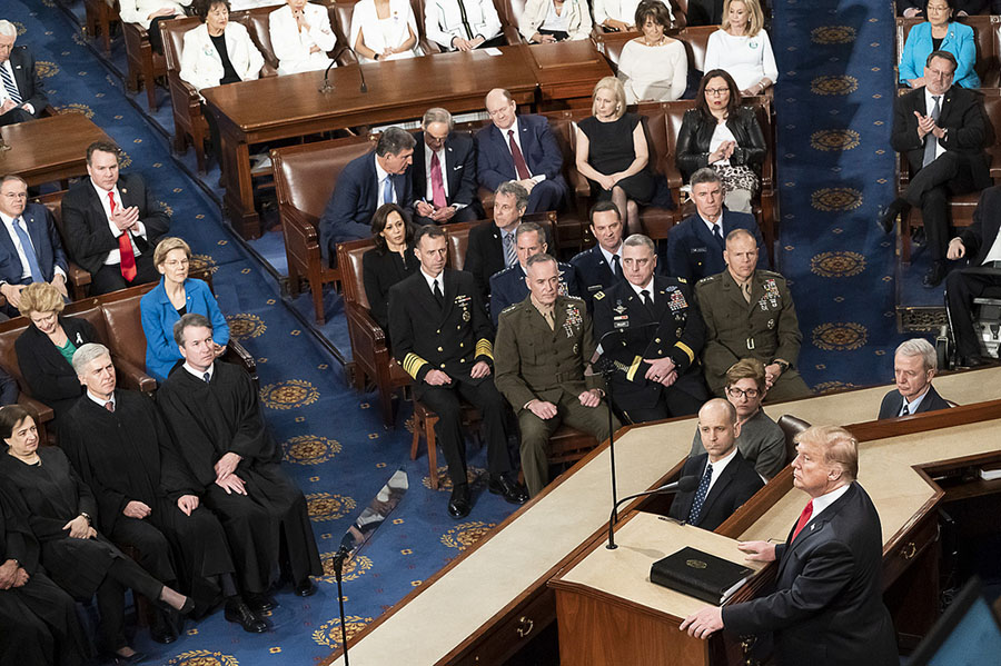 President Donald Trump address Congress in the State of the Union address Tuesday night.