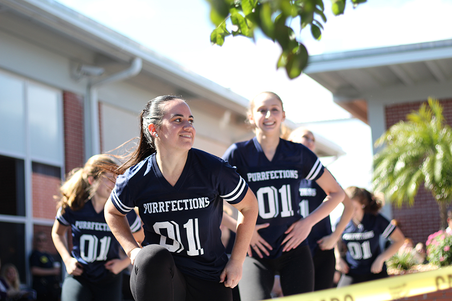 The Purrfections dance team performs a hip-hop routine at the Blue Ribbon Celebration on Friday.