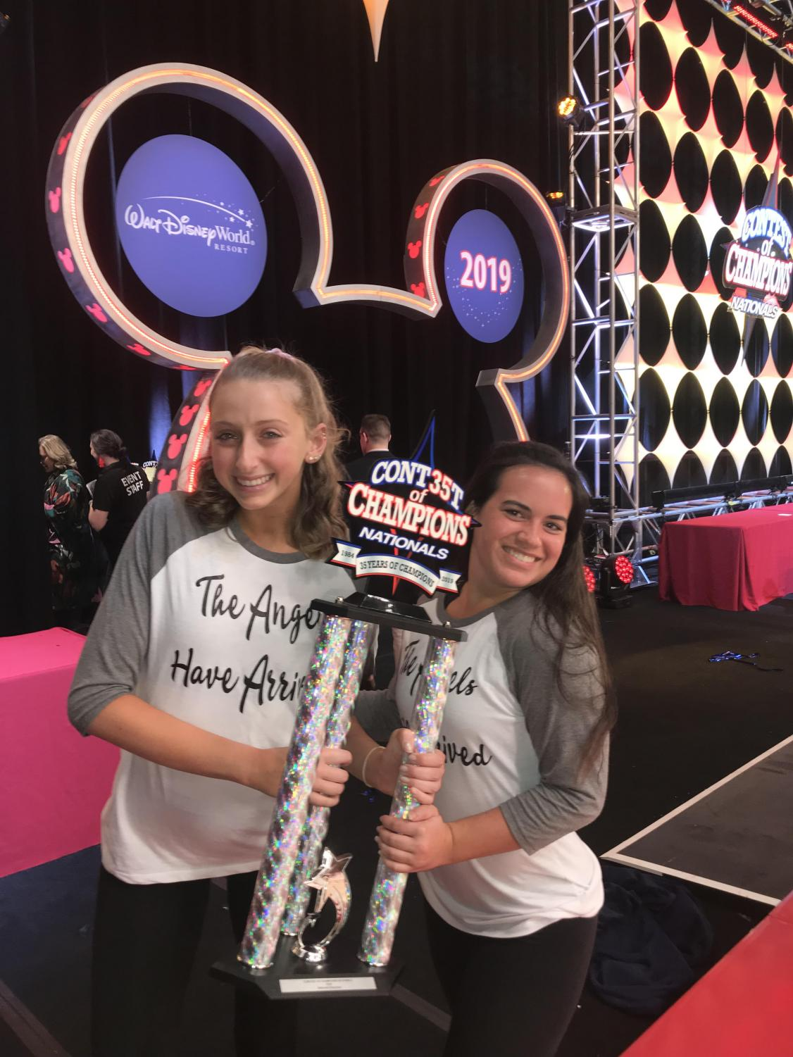Macie Goldfarb and Kathryn Carrick celebrate winning first place at nationals