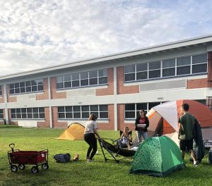 Seniors enjoy hanging out in tents during their annual prank day.
