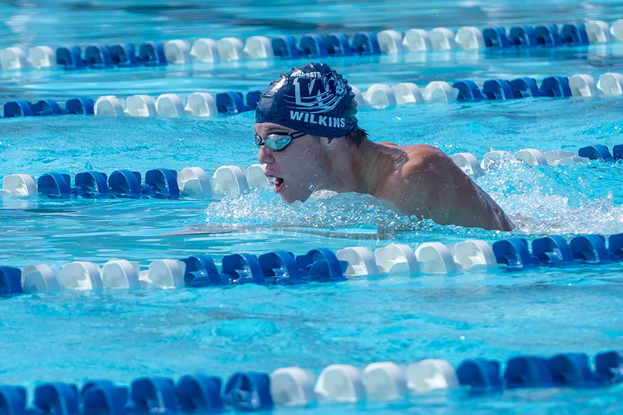 Riley Wilkins (12) is part of the 200-medley relay team that has qualified for state competition.