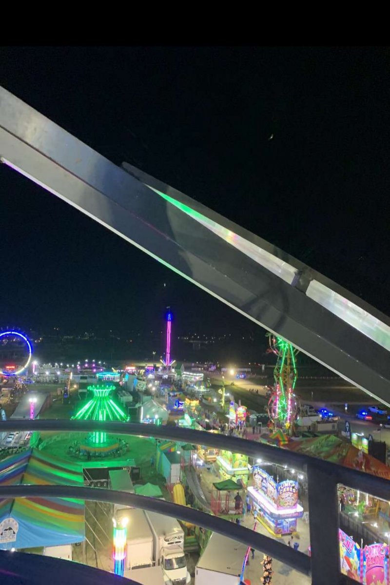 The view of the fair from the Ferris Wheel.
