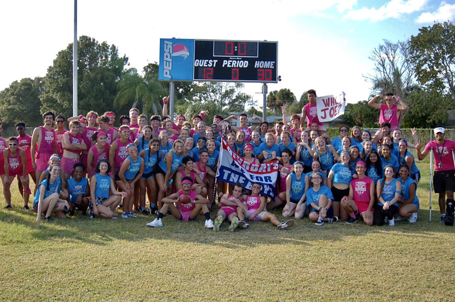 The Class of 2020 celebrates its Powderpuff victory last fall.