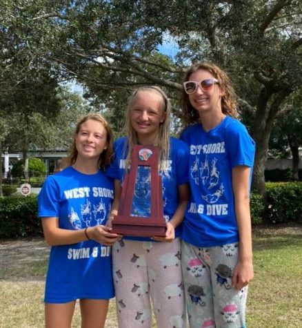 Kalia Clary (11), Layla Auter (12), and Allison Clark (11) with regional trophy.