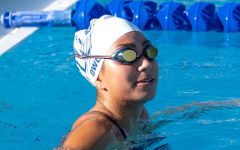 Katelyn Owl (12) practicing in the pool.