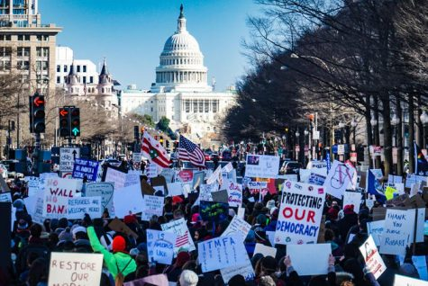 Protesters march toward the Capitol before a group stormed the building Wednesday afternoon.