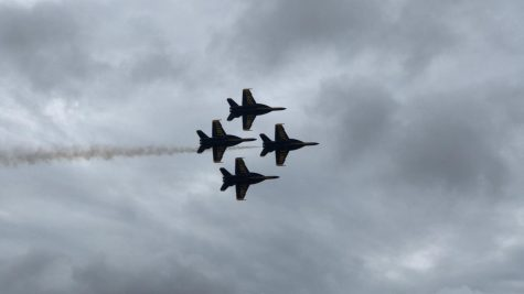 The Blue Angels practice flying in formation over the senior parking lot on Friday, May 13.