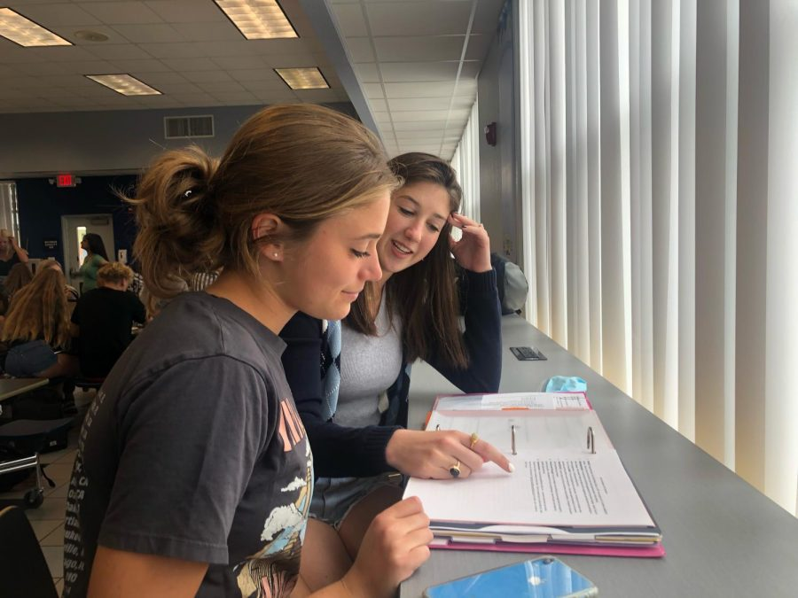 Seniors Jess Marzano and Lily Winsten meet regularly to plan SGA-related events.